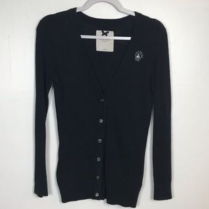 Gilly Hicks Button Up Cardigan Sweater Navy Small